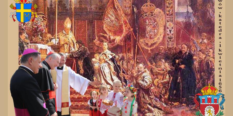 Najmłodsi parafianie witają kard. Pietro Parolina, w tle obraz J. Matejki
